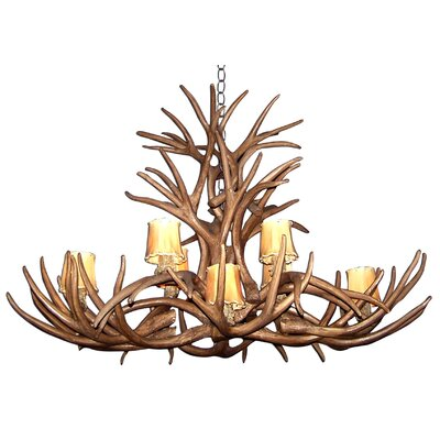 Attwood Antler Mule Deer Inverted Oblong 8-Light Candle-Style Chandelier Finish: Rustic Bronze/White, Shade Color: Parchment, Shade Included: Yes