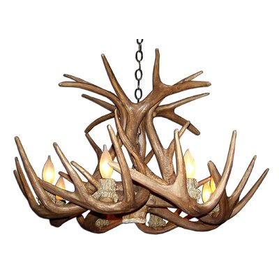 Attwood Antler Whitetail Single Tier 6-Light Candle-Style Chandelier Finish: Black/Brown, Shade Color: Rawhide, Shade Included: Yes
