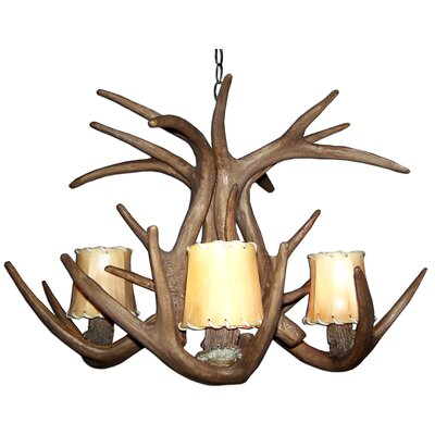 Attwood Antler Whitetail 4-Light Candle-Style Chandelier Finish: Black/Brown, Shade Color: Rawhide