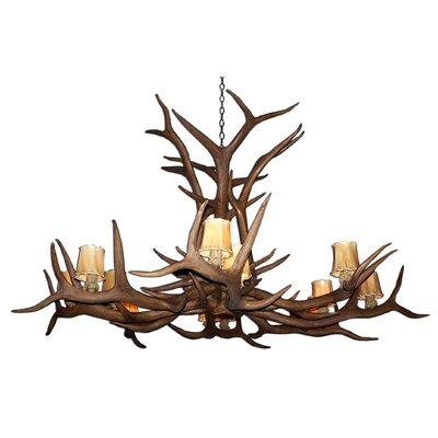 Attwood Antler Elk Single Tier 12-Light Candle-Style Chandelier Finish: Rustic Bronze/Brown, Shade Color: Parchment