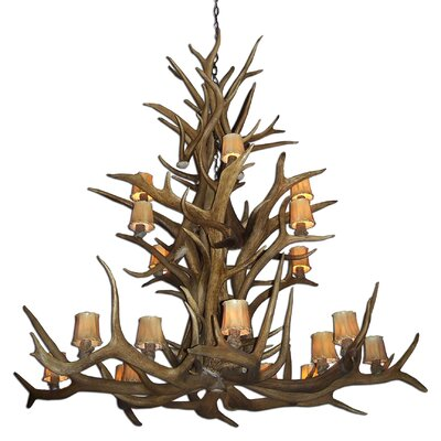 Doliya Antler Elk Cascade 15-Light Candle-Style Chandelier Finish: Black/White, Shade Color: Parchment