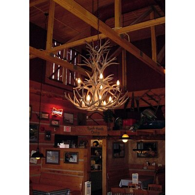 Attwood Antler Whitetail/Mule Deer Cascade 12-Light Candle-Style Chandelier Finish: Black/Natural Brown, Shade Color: Parchment, Shade Included: Yes
