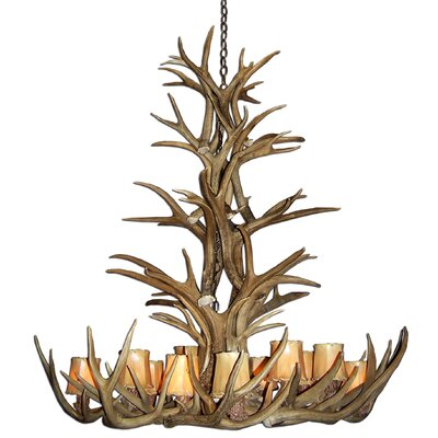 Doliya Antler Mule Deer 12-Light Candle-Style Chandelier Finish: Black/Natural Brown, Shade Color: No Shade, Shade Included: No