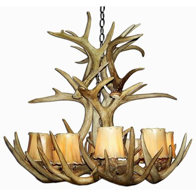 Doliya Antler Whitetail Cascade 12-Light Candle-Style Chandelier Finish: Rustic Bronze/Natural Brown, Shade Color: Parchment, Shade Included: Yes