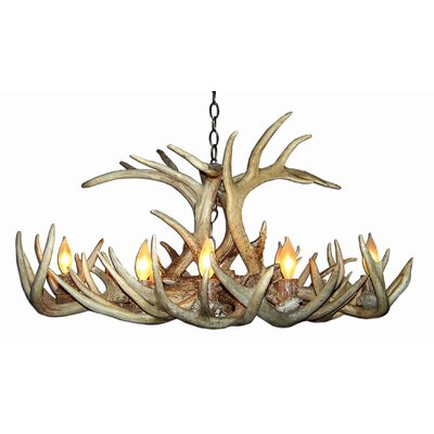 Doliya Antler Whitetail Oblong 8-Light Candle-Style Chandelier Finish: Rustic Bronze/Sunbleached, Shade Color: Parchment, Shade Included: Yes
