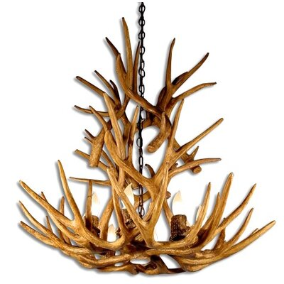 Attwood Antler Mule Deer Cascade 9-Light Candle-Style Chandelier Finish: Rustic Bronze/Brown, Shade Color: Rawhide, Shade Included: Yes