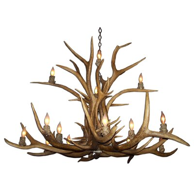 Attwood Antler Elk Inverted 15-Light Candle-Style Chandelier Finish: Rustic Bronze/White, Shade Color: Parchment