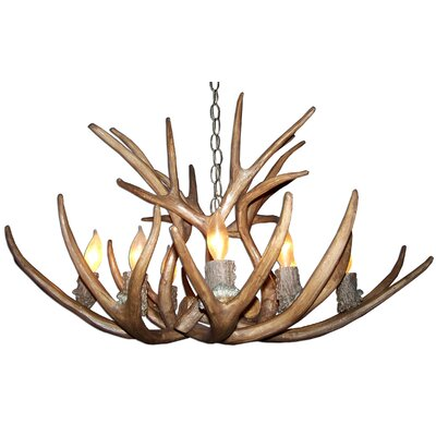 Attwood Antler Mule Deer 8-Light Candle-Style Chandelier Finish: Rustic Bronze/White, Shade Color: Parchment, Shade Included: Yes