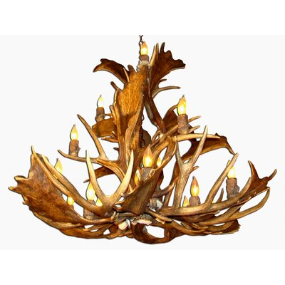 Doliya Antler Fallow/Mule Deer 15-Light Candle-Style Chandelier Finish: Black/Natural Brown, Shade Color: Parchment, Shade Included: Yes