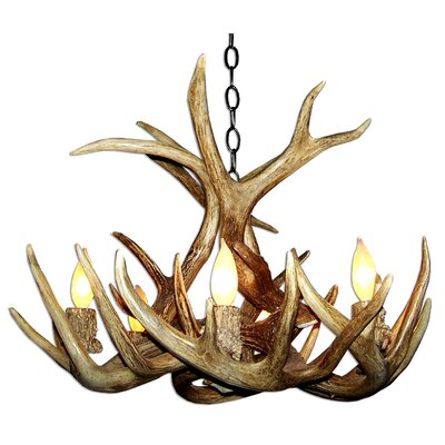 Doliya Antler Whitetail Single Tier 6-Light Candle-Style Chandelier Finish: Black/Brown, Shade Color: Rawhide, Shade Included: Yes