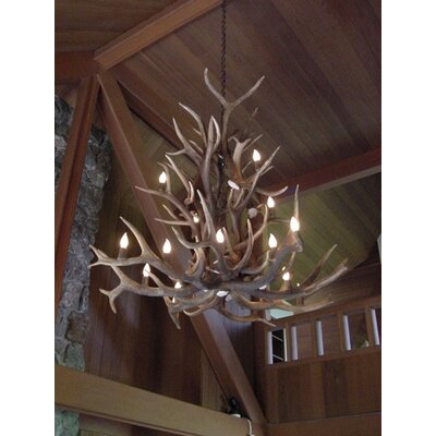 Attwood Antler Elk Cascade 16-Light Candle-Style Chandelier Finish: Black/Brown, Shade Color: Rawhide, Shade Included: Yes