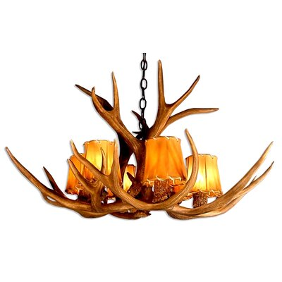 Doliya Antler Mule Deer Single Tier 6-Light Candle-Style Chandelier Finish: Black/Sunbleached, Shade Color: Parchment