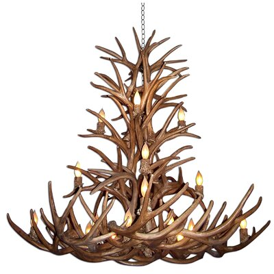 Attwood Antler Whitetail/Mule Deer Cascade 16-Light Candle-Style Chandelier Finish: Bronze/Brown, Shade Color: Rawhide, Shade Included: Yes