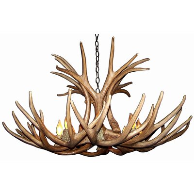 Attwood Antler Mule Deer 6-Light Candle-Style Chandelier Finish: Bronze/White, Shade Color: Rawhide