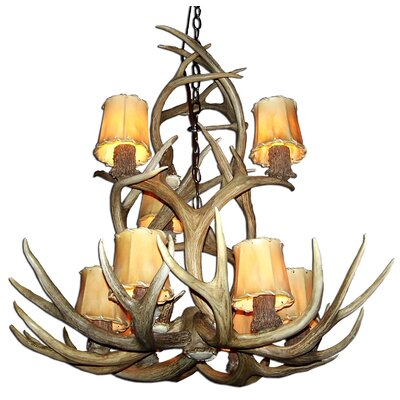 Doliya Antler Mule Deer 9-Light Candle-Style Chandelier Finish: Rustic Bronze/Sunbleached, Shade Color: Parchment, Shade Included: Yes