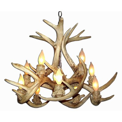 Doliya Antler Whitetail Inverted 10-Light Candle-Style Chandelier Finish: Rustic Bronze/Natural Brown