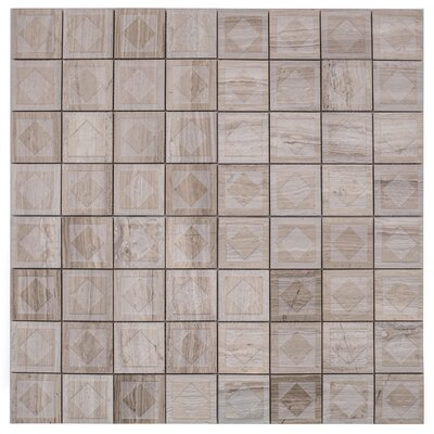 Cameo Diamant Marble Mosaic Tile in Gray Wood