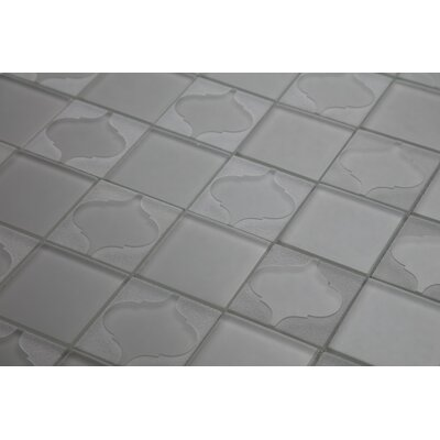 Cameo Flower Glass Mosaic Tile in Taupe Gray