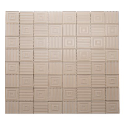 Cameo Symmetrical Glass Mosaic Tile in Beige/Cream