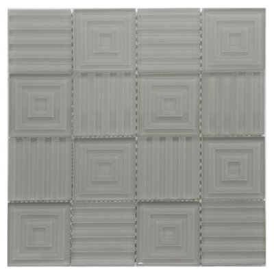 Cameo Symmetrical Glass Mosaic Tile in Gray