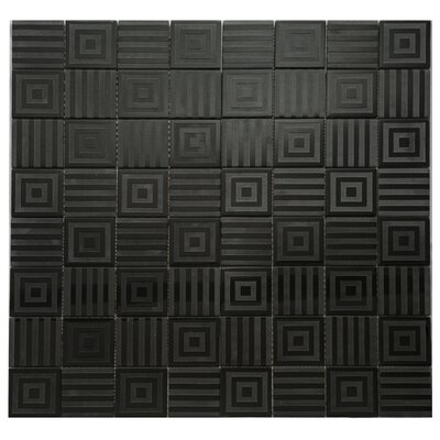 Cameo Symmetrical Glass Mosaic Tile in Black