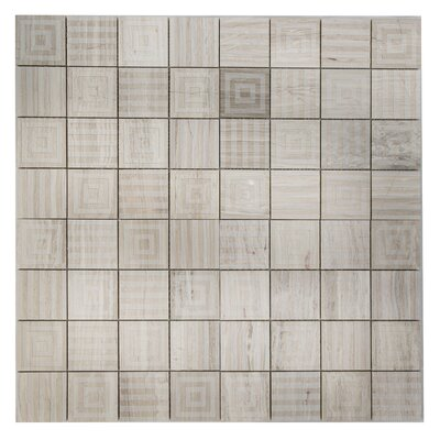 Cameo Symmetrical Marble Mosaic Tile in Gray Wood