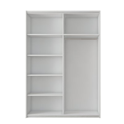 Zastrow 5 Shelves Armoire with Sliding Doors Color: White