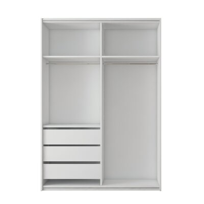 Zastrow Modern 3 Drawers Armoire with Sliding Doors Color: White