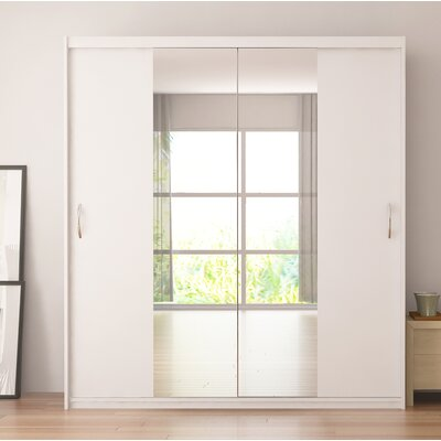 Zanders Armoire with Mirror Sliding Doors Color: White