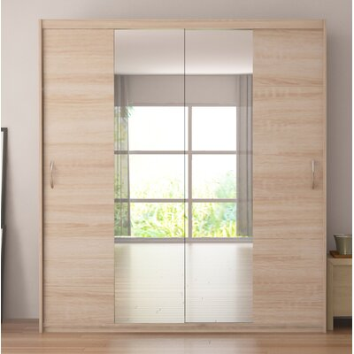 Zanders Armoire with Mirror Sliding Doors Color: Oak Sonoma