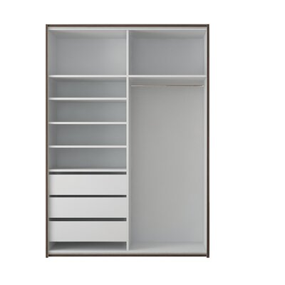 Zastrow 3 Drawers Armoire with Sliding Doors Color: White, Size: 86 H x 72 W x 23.6 D