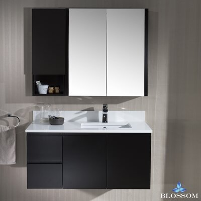 Maly Modern 42 Single Bathroom Vanity Set with Wood Framed Mirror
