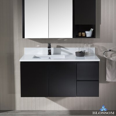 Maly Modern 42 Single Bathroom Vanity Set with Rectangular Mirror