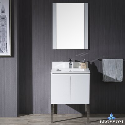 Maly Modern 24 Single Bathroom Vanity Set with Mirror Base Finish: Matte White