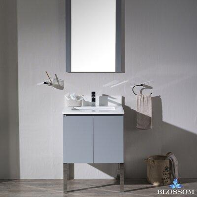 Maly Modern 24 Single Bathroom Vanity Set with Mirror Base Finish: Metal Gray