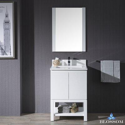 Maly 24 Single Bathroom Vanity Set with Rectangular Mirror Base Finish: Matte White