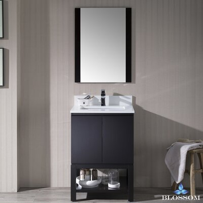 Maly 24 Single Bathroom Vanity Set with Rectangular Mirror Base Finish: Espresso