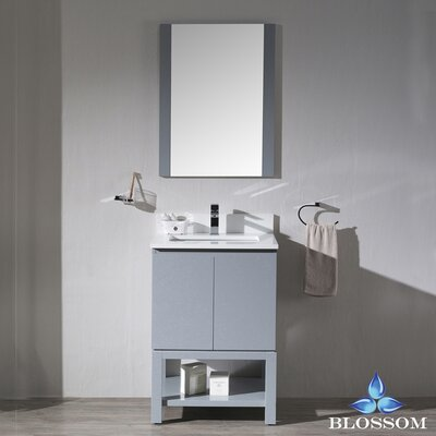 Maly 24 Single Bathroom Vanity Set with Rectangular Mirror Base Finish: Metal Gray