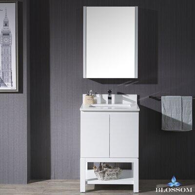 Maly Modern 24 Single Bathroom Vanity Set with Rectangular Mirror Base Finish: Matte White