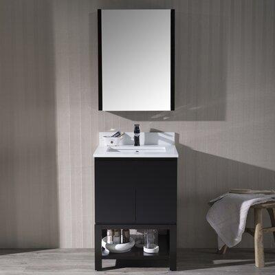 Maly Modern 24 Single Bathroom Vanity Set with Rectangular Mirror Base Finish: Espresso