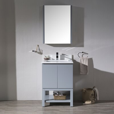 Maly Modern 24 Single Bathroom Vanity Set with Rectangular Mirror Base Finish: Metal Gray