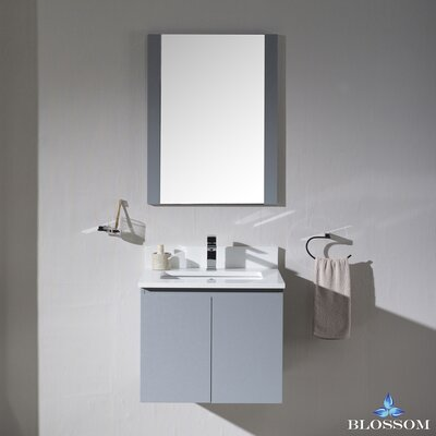 Maly 24 Single Bathroom Vanity Set with Mirror Base Finish: Metal Gray
