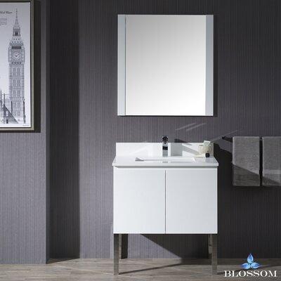 Maly Modern 30 Single Bathroom Vanity Set with Mirror Base Finish: Matte White