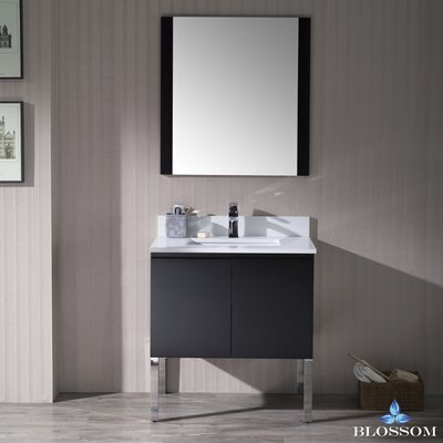 Maly Modern 30 Single Bathroom Vanity Set with Mirror Base Finish: Espresso