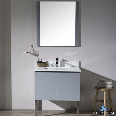 Maly Modern 30 Single Bathroom Vanity Set with Mirror Base Finish: Metal Gray