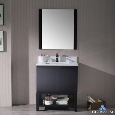 Maly 30 Single Bathroom Vanity Set with Rectangular Mirror Base Finish: Espresso