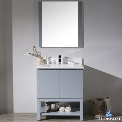 Maly 30 Single Bathroom Vanity Set with Rectangular Mirror Base Finish: Metal Gray