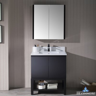 Maly Modern 30 Single Bathroom Vanity Set with Rectangular Mirror Base Finish: Espresso