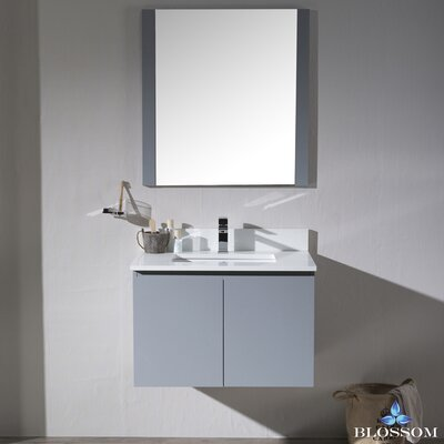 Maly 30 Single Bathroom Vanity Set with Mirror Base Finish: Metal Gray