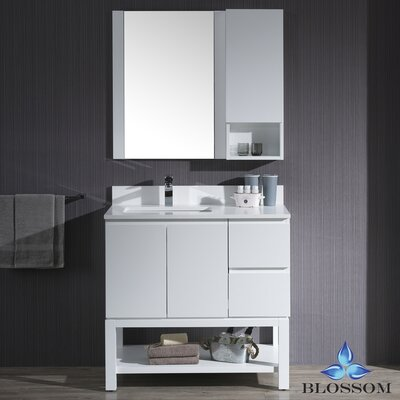 Maly 36 Single Bathroom Vanity Set with Solid Wood Framed Mirror Base Finish: Matte White